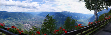meran: Panorama Etsch Valley and spa town Meran