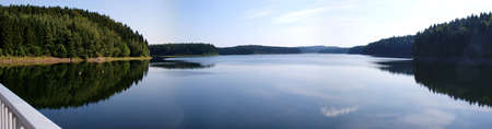 View from the dam, the dam Saidenbach in the Erzgebirge  photo
