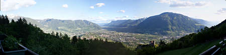 meran: Valley basin from Merano in the evening sun