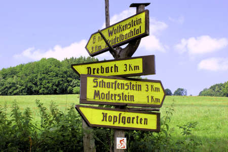 erzgebirge: Guidepost for hiker in the Erzgebirge, Germany