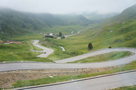 A pass road in Switzerland photo