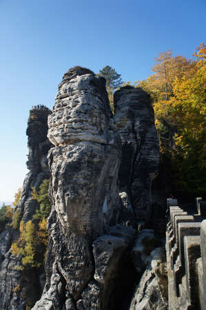 attraktion: View from the Bastei-Bridge in Saxon Switzerland in Germany; a sunny autumn day; Stock Photo