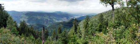 municipalities: Landscape in the Black Forest; panoramic view over forests, mountains and valleys; in the Murgtal municipalities and little towns