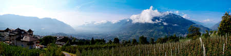 basin mountain: View of the valley basin of Merano in South Tyrol, Italy, surrounded by the Sarntaler Alps, the Mendola mountain ridge and the Vigiljoch; view in the Vinschgau Valley and in the foreground large apple orchards; panoramic