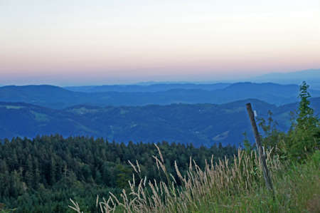 Landscape in the Black Forest in Germany, view over forests, mountains and valleys, endless widths and evening mood Stock Photo - 28651529
