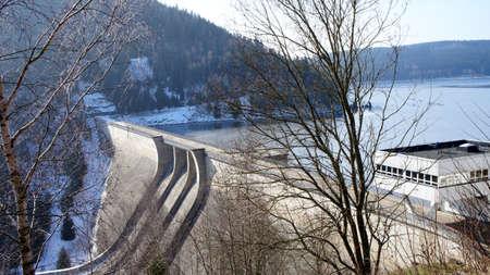 erzgebirge: Largest Dam in Saxony Germany dam lake Eibenstock in the Erzgebirge with dam winter landscape on a sunny day
