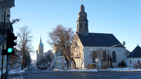 erzgebirge: The Landmark of the mining city AnnabergBuchholz the St. Anne39s Church and the Catholic left Parish Church Holy Cross