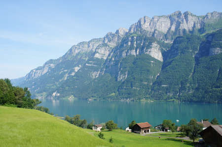 sargans: View on the mountain lake Walensee in the Canton Graubunden Switzerland mountains steep rocks and water turquoisecoloured