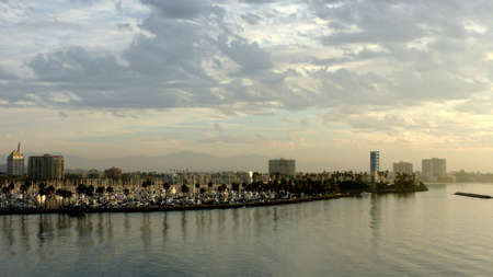 los angeles county: Marina of Long Beach in Los Angeles County, City in California in the United States, in the foreground the Queensway Bay and in the background the mountain range
