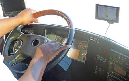 bus driver: Manos de un conductor de autob�s en el volante, el conductor del autob�s en el trabajo en los Estados Unidos Foto de archivo