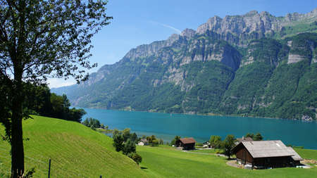 View on the mountain lake Walensee in the Switzerland; Mountains, steep rocks and turquoise-colored water; In the foreground a meadow with a farmhouse