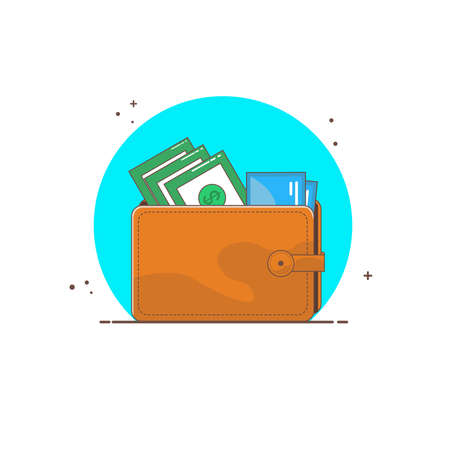 Wallet with money and credit card in flat design