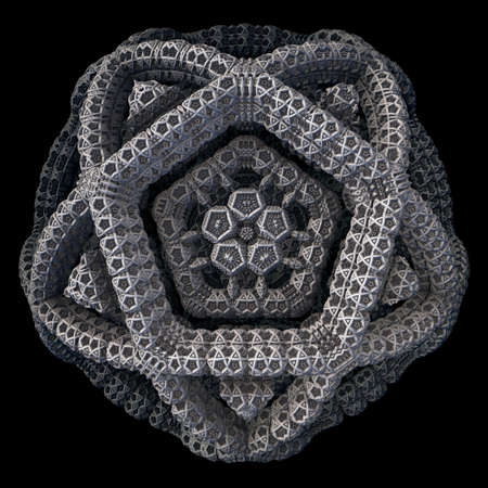 A 3d fractal of a recursive pentagon structure with a dark background