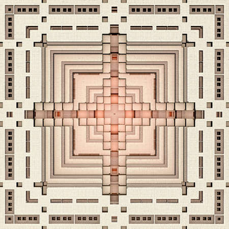 A geometrical 3d pattern of a recursive rectangle fractal like the base of a pyramid