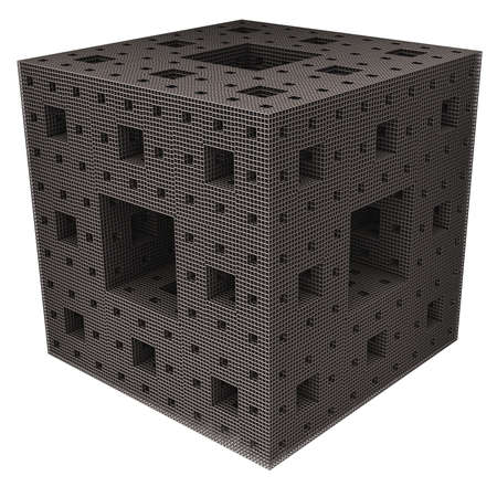 A recursive rectangle grid cube on a light background. Stock Photo