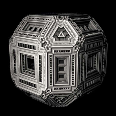 ornamentation: An isolated alien box with an intricately designed 3d ornamentation. Stock Photo