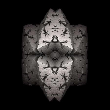 A distorted metallic pyramid with a recursive edge folding  on a dark background. Stock Photo
