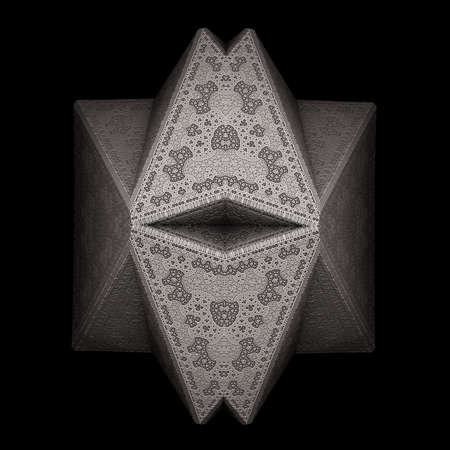 recursive: A folded metallic pyramid with a recursive surface on a dark background.