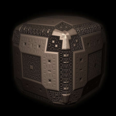 aura: An isolated alien cube with an intricately designed 3D fractal ornamentation and a little aura. Stock Photo