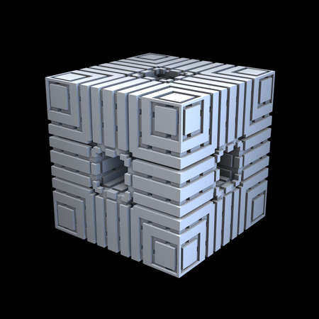 ornamentation: An isolated alien cube with a 3D fractal ornamentation in Art Deco style.