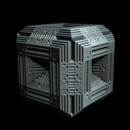 ornamentation: An isolated alien cube with an intricately designed 3D fractal ornamentation.