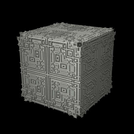 cuboid: An isolated metal cube with a recursive fractal design on the surface. (3D Rendering)
