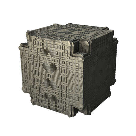 recursive: An isolated metal cube with a recursive fractal design on the surface. (3D Rendering)
