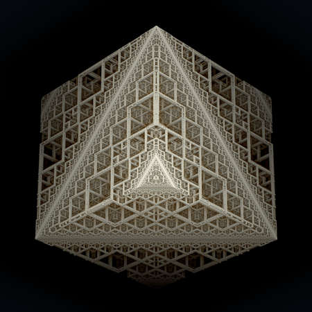 recursive: An isolated cube build out of recursive cube stages on black background. (3D Rendering)