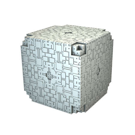 An isolated cube with a recursive fractal design on the surface and a white background. (3D Rendering)