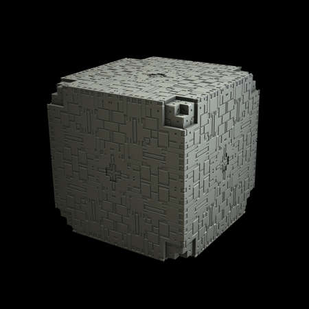 recursive: An isolated cube with a recursive fractal design on the surface. (3D Rendering)