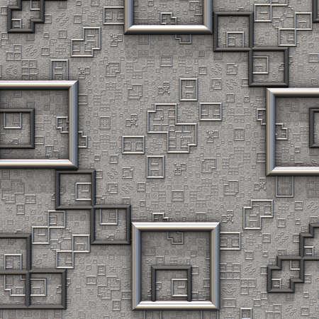 Metallic relief pattern of recursive rectangles. (3D Rendering)
