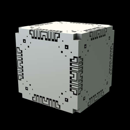 An isolated cube with a recursive fractal design on the surface. (3D Rendering)