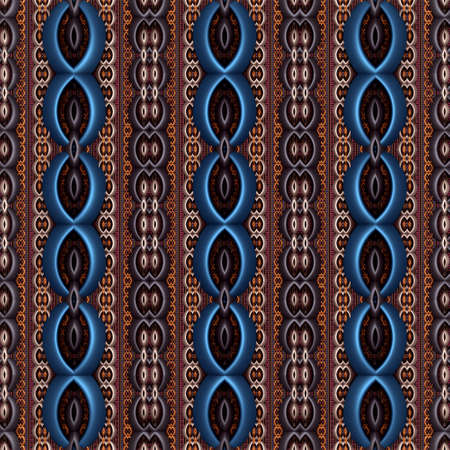 Seamless metallic relief pattern in a retro decor style. (3D Rendering) Stock Photo