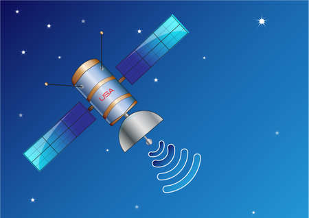 artificial satellite: satellite is space illustration, easy to modify