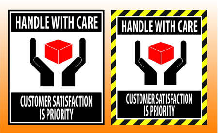 handle with care: fragile sticker handle with care icon packaging symbols sign red Illustration
