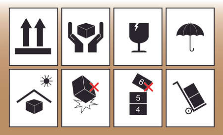 handle with care: ragile sticker handle with care icon packaging symbols sign red keep dry do not drop trolley Illustration