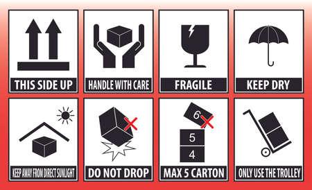 manipular: mango pegatina ragile con el icono de atención símbolos de embalaje firmar mantener seco rojo no deje caer carro Vectores