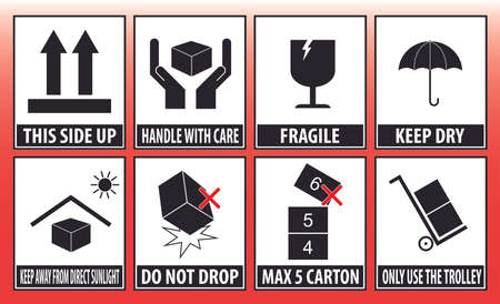 ragile sticker handle with care icon packaging symbols sign red keep dry do not drop trolley Stock Illustratie