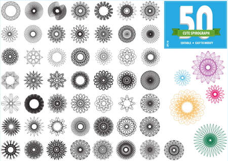 spirograph or round ornament or geometric circle isolated. editable and easy to modify for money design, voucher, currency, gift certificate, coupon, banknote, diploma, check, note. Illustration