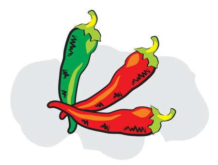 dan: red dan green chili in doodle style