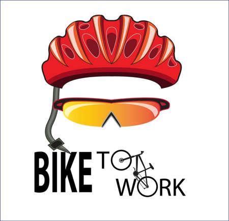 casco rojo: casco de la bicicleta y las gafas de sol en bicicleta al trabajo