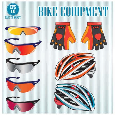 biking glove: Bike or Bicycle clothing illustration, easy to modify
