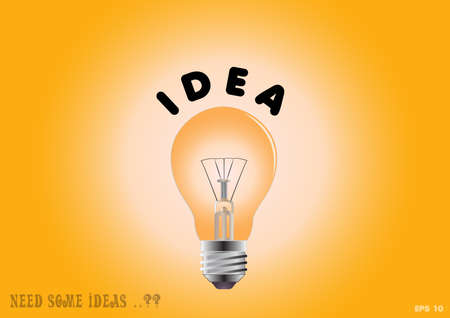 turn yellow: Bulb light of inspiration illustration