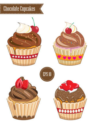 cupcakes isolated: Milk Chocolate Cupcakes, isolated Illustration