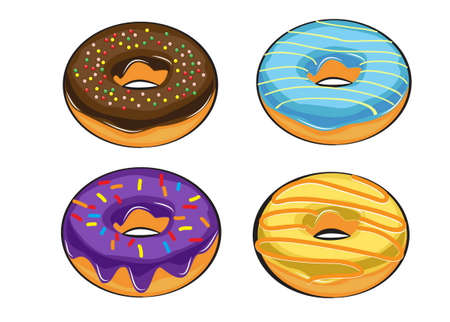 colorful and yummy donuts isolated. doodle style