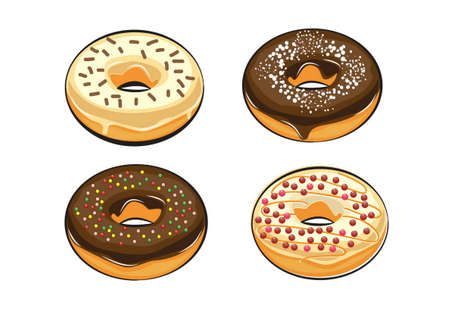 donut: colorful and yummy donuts isolated. doodle style