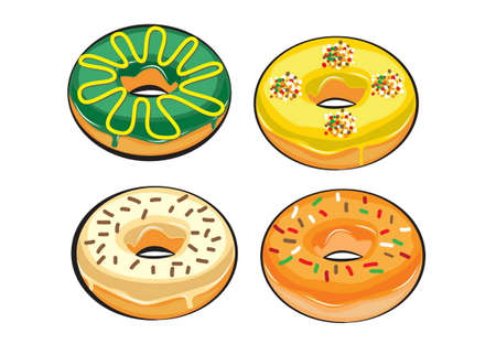 yummy: colorful and yummy donuts isolated. doodle style