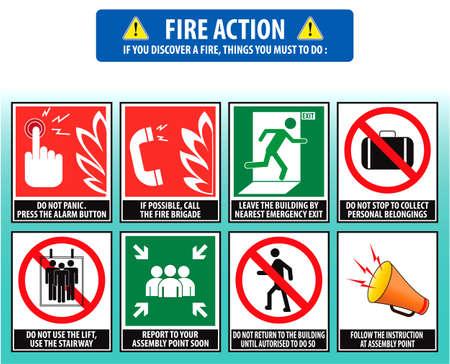 evacuatie: Brand actie noodprocedure (evacuatie procedure) Stock Illustratie