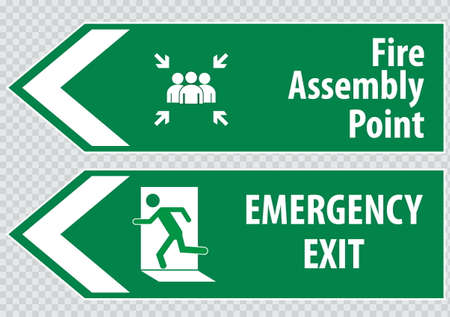 safety sign fire safety signs: Fire Assembly Point Sign Illustration