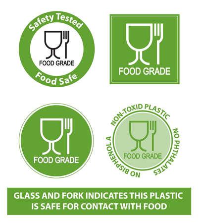 Kunststoff-Recycling-Symbole für Lebensmittelqualität Standard-Bild - 35027367